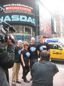 Gordon Korman, Jude Watson, Peter Lerangis, Patrick Carman in Times Square for NASDAQ opening